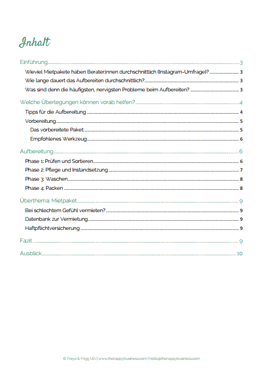 """Inhaltsverzeichnis vom Protokoll zum tnb-Café """"Mietpakete aufbereiten"""""""