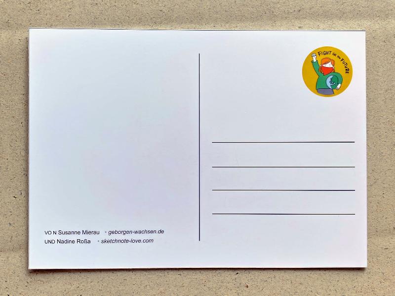 Fight for the Future Postkarte Klimakrise bedeutet Wählen gehen, gebt den Kindern eure Stimme. Susanne Mierau (geborgen wachsen) und Nadine Roßa von sketchnote-love.de